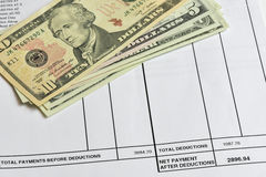 Detail of a payslip Stock Photography