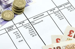 Detail of a payslip Royalty Free Stock Photography