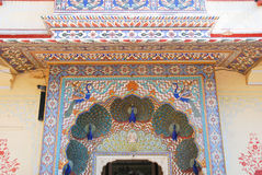 Detail of Peacock Gate in Jaipur City Palace Stock Photos