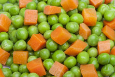 detail of peas and carrot in squares Stock Image