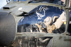 Detail of the pedals of a combat helicopter Royalty Free Stock Images