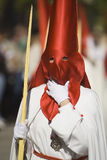 Detail penitent holding a palm during Holy Week Stock Image