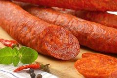 Detail of pepperoni sausage Stock Photo