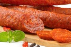 Detail of pepperoni sausage Royalty Free Stock Photos