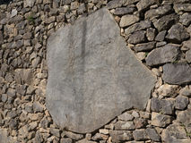 Detail of perfect Inca stonework encrusted at Machu Picchu ruins Royalty Free Stock Image