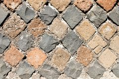 Detail of perimeter wall of a house of ancient Rome with the lay. Out of the brickwork that follows the technique of Opus Reticolatum stock images