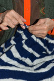 Detail of a person knitting Royalty Free Stock Image
