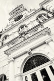 Detail photo of Budmerice castle in Slovak republic, black and w stock photo