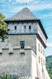 Detail photo of gothic castle Karlstejn, blue filter Royalty Free Stock Photo