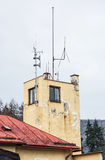 Detail photo of old house with megaphones and antenna, architect Stock Photography