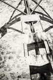 Detail photo of old tower windmill in Holic, black and white royalty free stock images