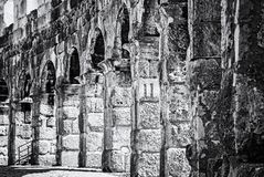 Detail photo of Pula Arena, Istria, Croatia, colorless stock photo