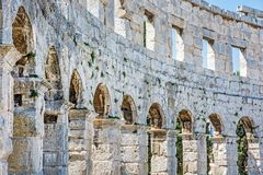 Detail photo of Pula Arena, Istria, Croatia. Travel destination. Ancient architecture stock photos