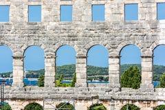 Detail photo of Pula Arena, Istria, Croatia. Travel destination. Ancient architecture stock image