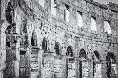 Detail photo of Pula Arena, Istria, colorless. Detail photo of Pula Arena, Istria, Croatia. Travel destination. Ancient architecture. Black and white photo stock photos