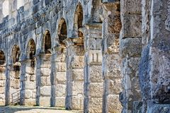 Detail photo of Pula Arena, Istria, Croatia. Travel destination. Ancient architecture stock photo
