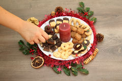Detail photo of various homemade Christmas cookies, special Czec Stock Photography