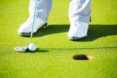 Detail Photograph of Man Putting Golf Ball into the Hole Royalty Free Stock Photo