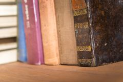Stack of old books. Detail photograph of a stack of old books in which the texture of the covers can be seen Royalty Free Stock Photography