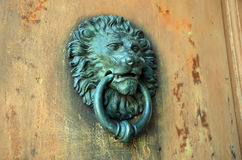 Detail photography of old metal door knocker lion head Royalty Free Stock Image