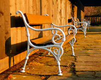 Detail photography of wooden bench Royalty Free Stock Photography