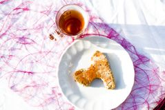 Tea time #10. A detail of a picknick table with bread and jam Royalty Free Stock Images