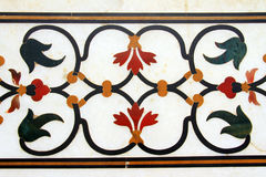 Detail of pietra dura inlaid work in Taj Mahal Stock Photo