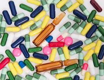 Detail a pile of colorful medicine pills Stock Images