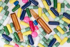 Detail of a pile of colorful medicine pills Stock Image