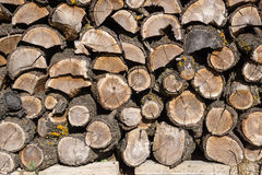Detail of Pile  wood logs ready for winter, dry chopped firewood. Polluting energies Stock Photos