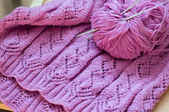 Detail of pink woven handicraft knit sweater Stock Photo
