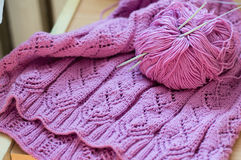 Detail of pink woven handicraft knit sweater Royalty Free Stock Image