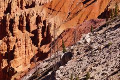 Detail, pinnacles and hoodoos of red Navajo sandstone. In the canyons of Cedar Breaks National Monument, Utah stock photography
