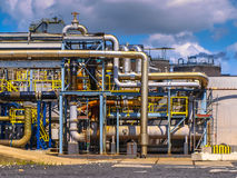 Detail of the pipes of a chemical plant Stock Photos