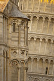 Detail pisa leaning tower. In itay, against church building Royalty Free Stock Photo