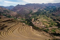 Detail of Pisac archeologist place in the Sacred valley of the I stock images