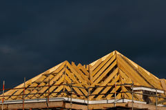 Detail of pitched roof construction. Timber roof construction in england uk stock image
