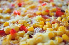 Detail of delicious pizza with corn stock photos