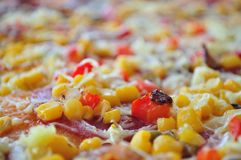 Detail of delicious pizza with corn stock image