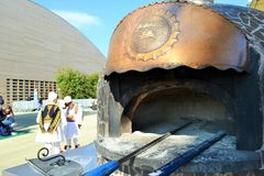 A detail of pizzaiolo mobile oven from Naples at the EXPO Milano 2015. Royalty Free Stock Photos