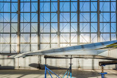 Detail of the plane stands in hangar stock photography