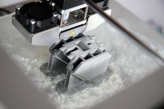 3d printer. Detail of plastic prototype in 3d printer Royalty Free Stock Photography