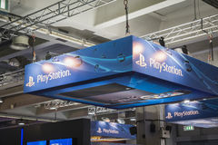 Detail of Playstation stand at Games Week 2014 in Milan, Italy Stock Photo