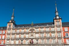 Detail of the Plaza Mayor in Madrid. With the Casa de la Panaderia Bakery House Royalty Free Stock Photos