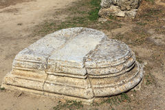 Detail of a plinth at Salamis, Famagusta. Heart shaped plinth at the archaeological site of Salamis in Famagusta, Cyprus Stock Photography