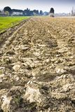 Detail of a plowed field in Tuscany countryside. (Italy) - space for text insertion Royalty Free Stock Photography