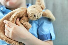 Detail of a plush toy in the hand of a young boy with a blue shirt Stock Photos