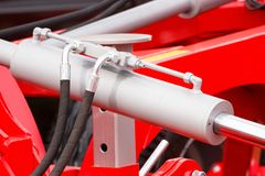 Detail of pneumatic or hydraulic machinery, technology and engineering concept. Detail and part of industrial hydraulic or pneumatic machinery, engineering and stock image