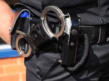 Detail of police officer utility belt. Stock Photo