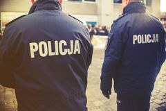 Detail of a police Policja officer in Poland, demonstration in. Background Royalty Free Stock Photography